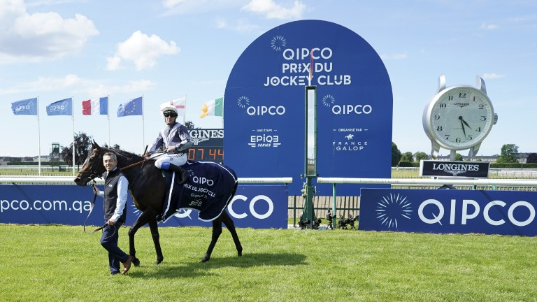 Study Of Man parades on the Chantilly turf after winning the Qipco Prix du Jockey Club