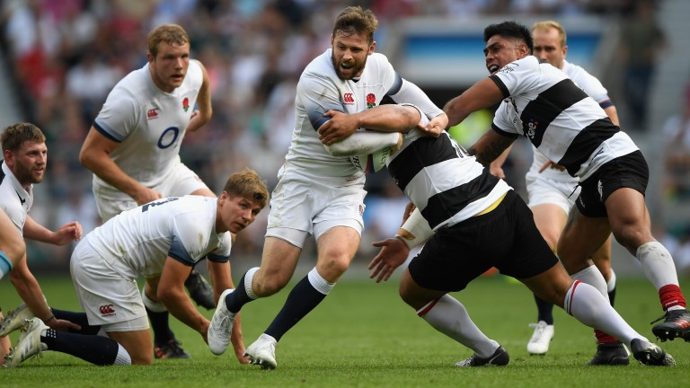 England's Elliot Daly scored a try against the Barbarians at Twickenham