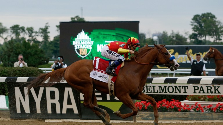 Justify is in a league of his own as he wins the Belmont under Mike Smith