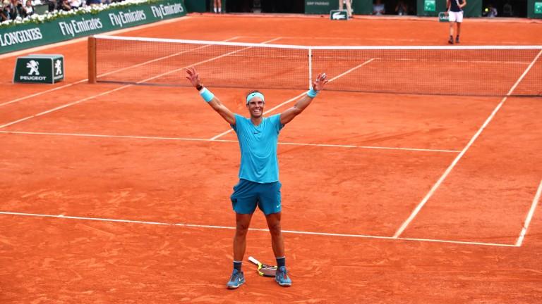 Rafael Nadal celebrates his title