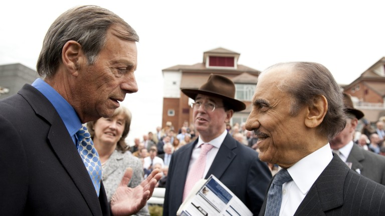 Sir Henry Cecil with Prince Khalid Abdullah after Frankel's victory in the Greenham Stakes at Newbury in April 2011