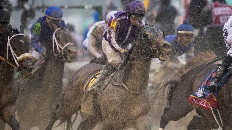 Mendelssohn feeling the effects of a sloppy track and a rough passage at the first turn of the Kentucky Derby