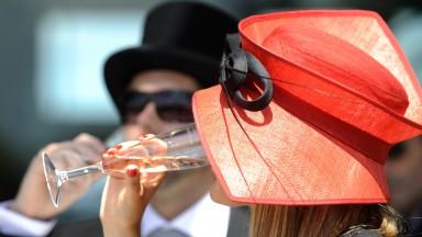 Hazel Kirk drinks champagne her hat is from the Hat Emporium in Crayford,Kent
