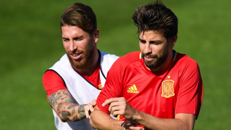 Experienced Spain pair Sergio Ramos (left) and Gerard Pique
