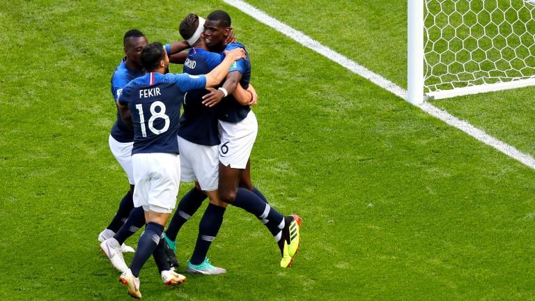 France celebrate their second goal against Australia