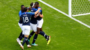 France celebrate their second goal against Australia