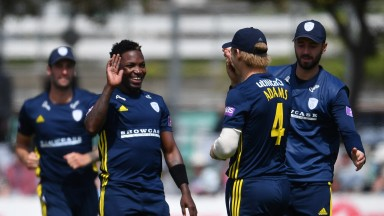 Fidel Edwards of Hampshire celebrates a wicket in the One-Day Cup win over Sussex