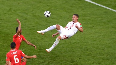 Sergej Milinkovic-Savic of Serbia attempts the spectacular
