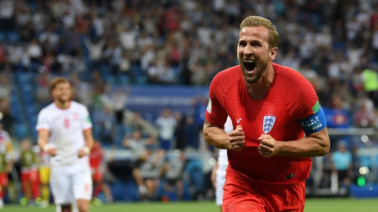 England's Harry Kane celebrates his winning goal in the World Cup game against Tunisia