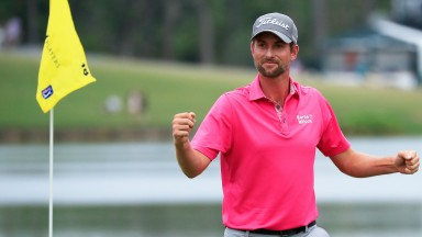 Webb Simpson celebrates after winning during the final round of The Players Championship