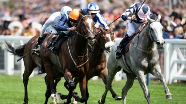 Accidental Agent (Charles Bishop,orange cap) wins the Queen Anne StakesRoyal Ascot 19.6.18 Pic: Edward Whitaker