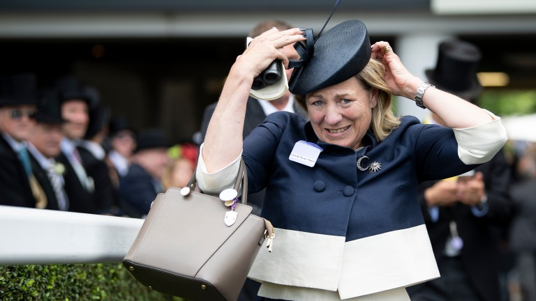 Eve Johnson Houghton (left) celebrates asfter Accidental Agent (Charles Bishop,orange cap) had won the Queen Anne StakesRoyal Ascot 19.6.18 Pic: Edward Whitaker