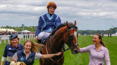 Charlie Bishop returns triumphant on Accidental Agent after grabbing Group 1 glory in the Queen's Anne for Eve Johnson Houghton (left)
