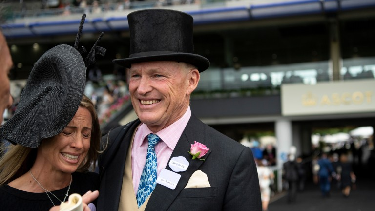 John Gosden embraces emotional owner Tanya Gunther after Without Parole's victory