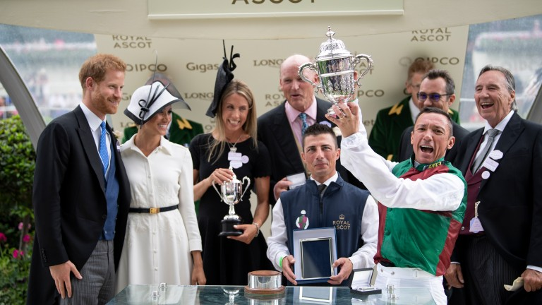 John Gunther (far right) and Tanya Gunther (third left) celebrate with Frankie Dettori after winning the St James's Palace Stake