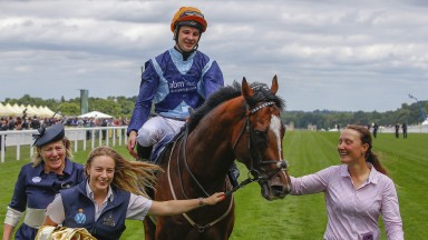 It's gonna be emotional: Accidental Agent with trainer Eve Johnson Houghton (left), jockey Charlie Bishop and grooms Nynke Schilder and Vanda Ohlidalova (right)