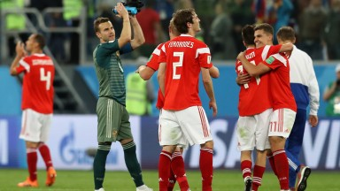 Russia players celebrate their win over Egypt