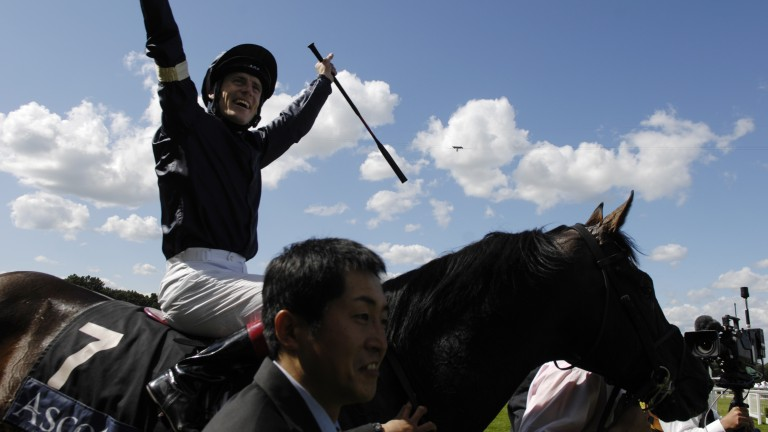 Johnny Murtagh celebrates on board Yeats, mighty winner of four Gold Cups