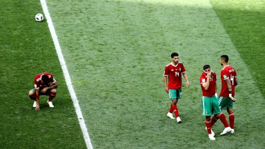Devastated Morocco players after Portugal defeat
