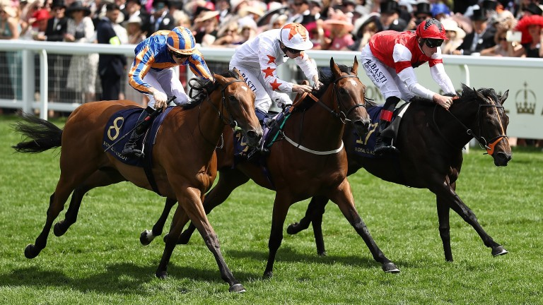 Signora Cabello (centre) wins the Queen Mary Stakes at Royal Ascot