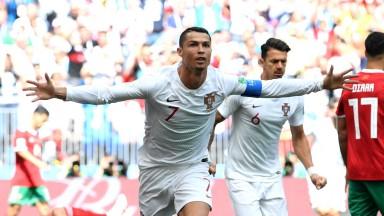 Cristiano Ronaldo celebrates scoring Portugal's winner against Morocco