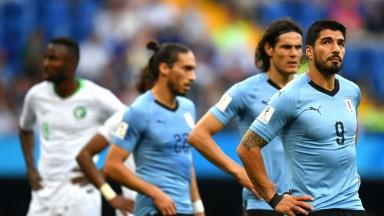 Uruguay's Luis Suarez looks dejected during the game against Saudi Arabia