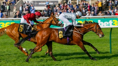 Mildenberger (James Doyle) beats Fortune's Pearl in the bet365 Feilden Stakes at Newmarket