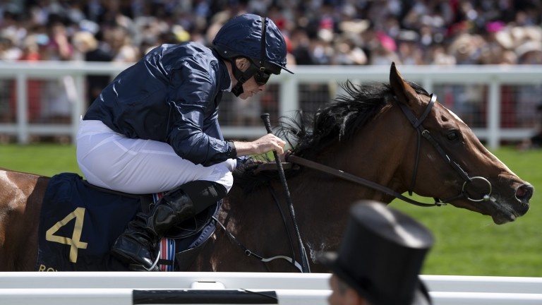 Hunting Horn (Ryan Moore) wins the Hampton Court Stakes to become Camelot's first winner at the meeting