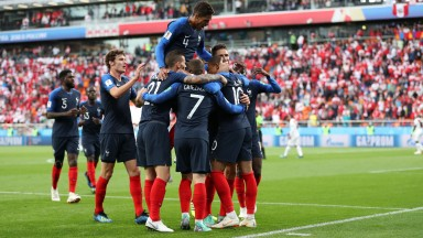 France celebrate after Kylian Mbappe scores against Peru