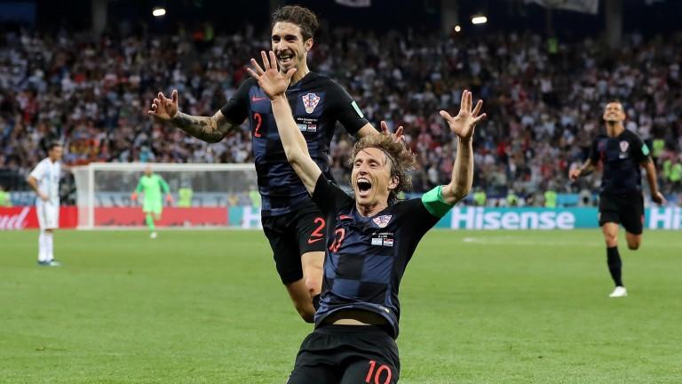 Luka Modric celebrates his goal for Croatia