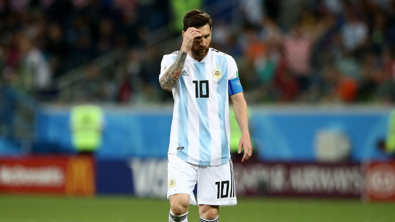 Lionel Messi can barely watch during a shambolic Argentina display