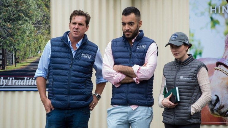 Antony Thompson (left) with Zoustar's joint-owner Sheikh Fahad Al Thani and Tweenhills Stud's Hannah Wall