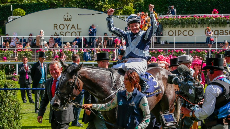 Colm O'Donoghue celebrates on Alpha Centauri after the Coronation Stakes