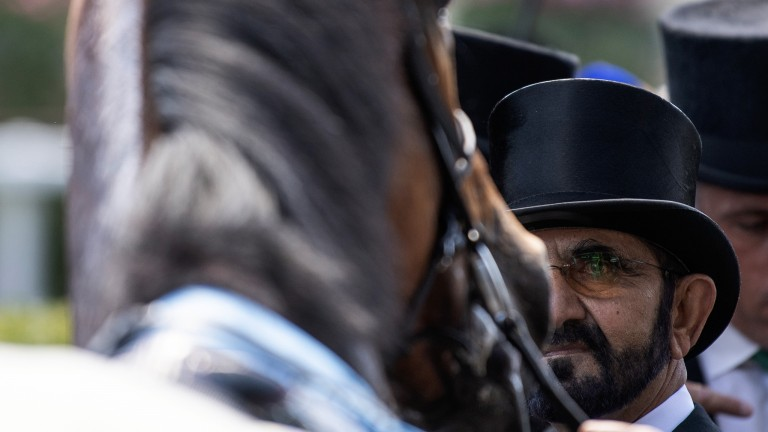 Sheikh Mohammed greets his King Edward VII Stakes winner Old Persian