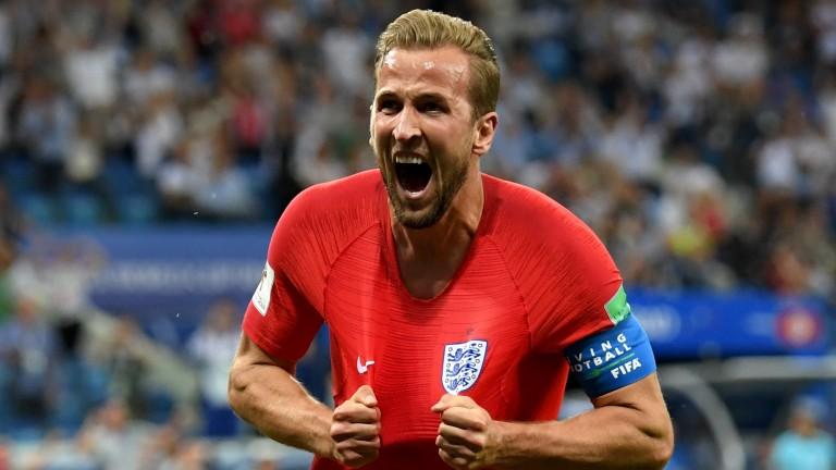 Ecstatic England captain Harry Kane celebrates his winner against Tunisia