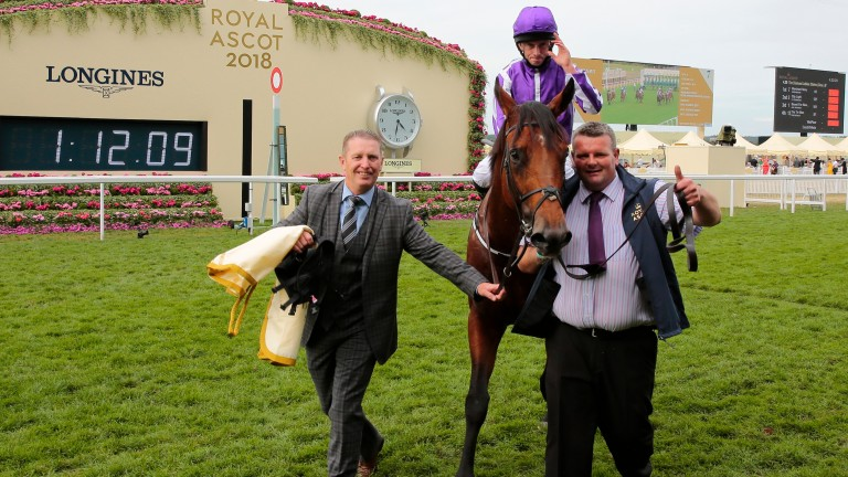 Job well done: groom David Hickey (right) gives a thumbs-up as he leads in Merchant Navy with Aidan O'Brien's travelling head lad Pat Keating at Royal Ascot
