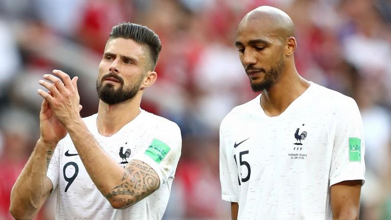 France's Olivier Giroud and Steven Nzonzi