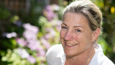 Blooming marvellous: Group 1-winning trainer Eve Johnson Houghton relaxes in the garden at Woodway stables