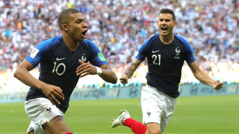 France's Kylian Mbappe celebrates a goal against Argentina