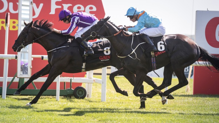 Van Beethoven (far side) gives Aidan O'Brien his 13th Railway Stakes, winning from Marie's Diamond