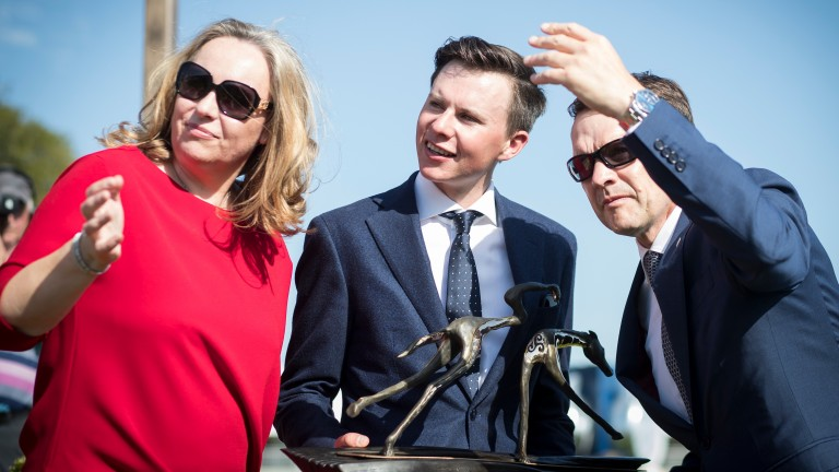 Joseph O'Brien with parents Aidan and Annemarie after winning the Dubai Duty Free Irish Derby with Latrobe