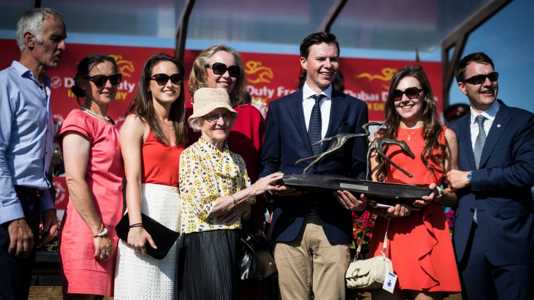 Joseph O'Brien is surrounded by family after his first Classic victory as a trainer with Latrobe