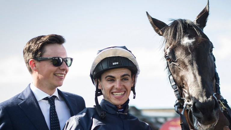 Smiles all round: Joseph and Donnacha O'Brien and indeed Latrobe show their delight after the horse's Irish Derby triumph