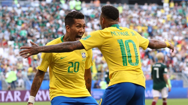 Brazil's Roberto Firmino and Neymar