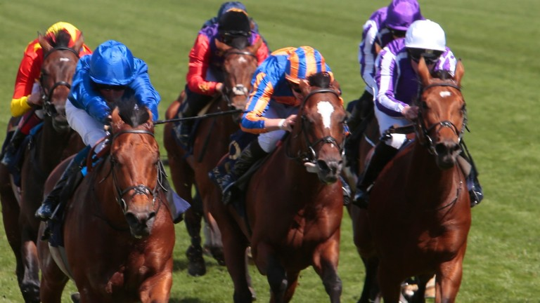 Old Persian (William Buick, left) beats Rostropovich and Guiseppe Garibaldi in the King Edward VII Stakes at Royal Ascot