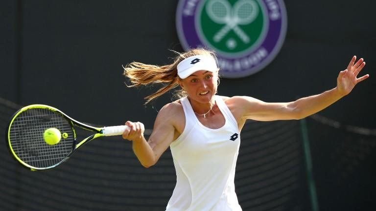 Aliaksandra Sasnovich on the way to defeating two-time champion Petra Kvitova