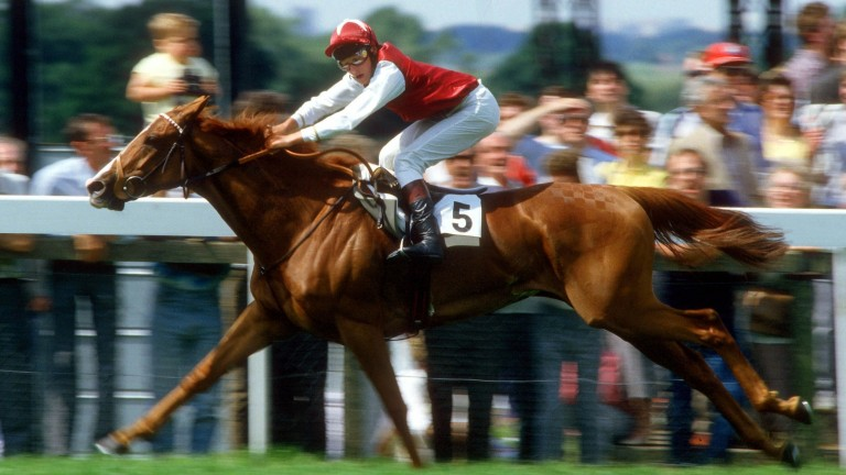 Pebbles, with Steve Cauthen on board, becomes the first filly to land the Eclipse in 1985