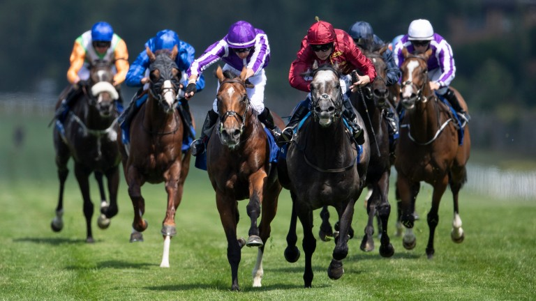 The grey Roaring Lion (Oisin Murphy) gets the better of Saxon Warrior and Donnacha O'Brien (purple cap). A stewards' inquiry was called