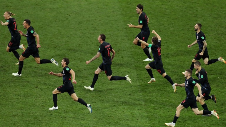 Croatia celebrate their penalty shootout victory