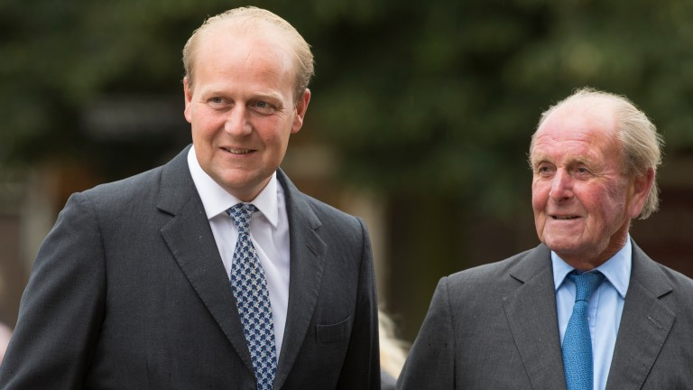 Ed and John Dunlop arrive at Ely Cathedral for Sir Henry Cecil's memorial service